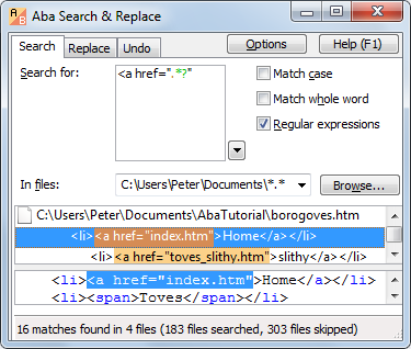 Aba Search and Replace screenshot