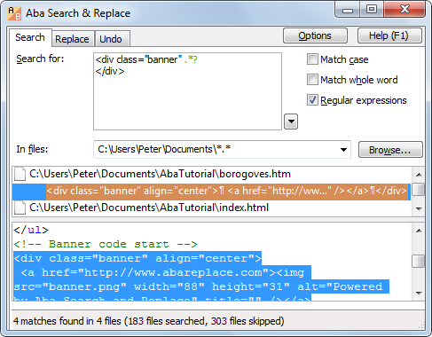 Replacing banner code using regular expression